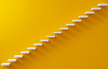 white steps on yellow